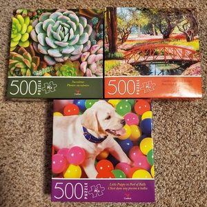 Puzzles Bundle Puppy Garden Succulents 500 PCS